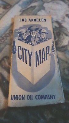 Vintage Los Angeles City Map Union Oil Company Military Men Holding Map