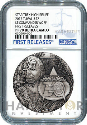 2017 Star Trek Lt. Commander Worf 2 Oz. Silver Coin - Ngc Pf70 First Releases