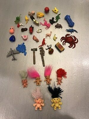 Vintage Lot of Trolls Gumball Machine Cracker Jack Toys