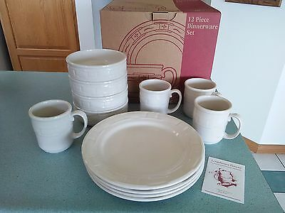 Longaberger USA Pottery 12 pc Dinnerware Placesettings Heirloom Ivory NEW w/box