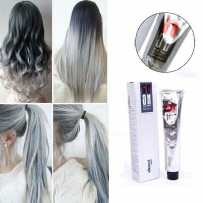 Fashion Smoky Gray Punk Style Light Grey Silver Permanent Hair Dye Color Cream M