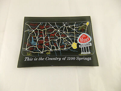 Vintage Glass Dish Pearl Beer The Country of 1100 Springs Advertising