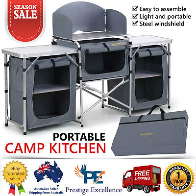 New Portable Camping Kitchen Table Island Bench Folding Camp Picnic