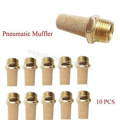 "10pc 1/8""BSPT Pneumatic Brass Muffler Air Breather Easy Installation New Arrival"
