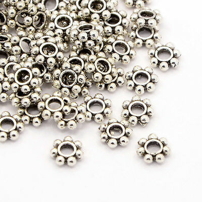 100pcs Tibetan Alloy Flower Metal Beads Snowflake Loose Spacers Silver 6x6x2mm