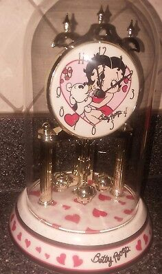 LN Betty Boop Anniversary Collectible Clock, Porcelain Base, Glass Dome, Hearts
