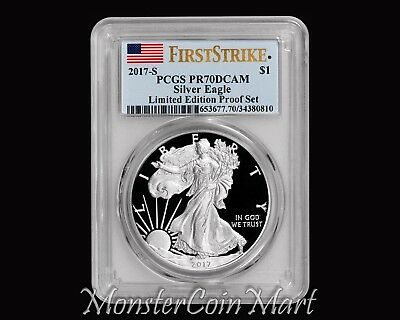 2017-S $1 Silver Eagle PCGS PR70DCAM FIRST STRIKE - Limited Edition Proof Set !