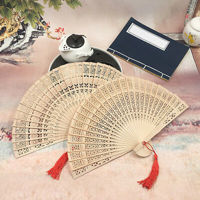Thyine Carved Woman Technology Folding Fans Chinese Style Gift Fan No Base