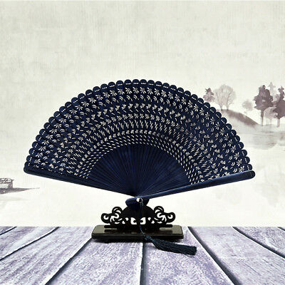 Pure Handwork Woman Bamboo Folding Fans Carved Technology Gift Fan No Base