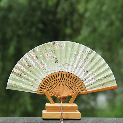 New Design Woman Cherry Blossoms Folding Fans Carved Gift Fan No Base