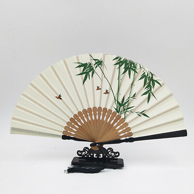 Chinese Style Unisex Folding Fans Hand Painted Cotton Fabric Gift Fan No Base