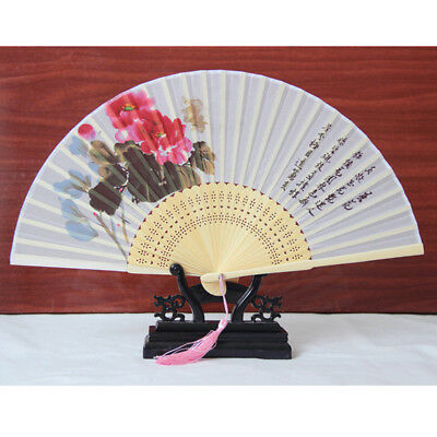 Chinese Style Classical Four Seasons Folding Fans Bamboo Craft Gift Fan No Base