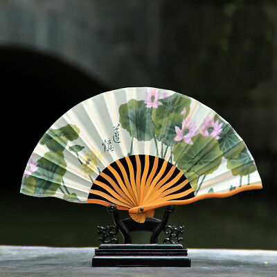 Pure Handwork Bamboo Print Lotus Folding Fans Exquisite Keel Gift Fan No Base