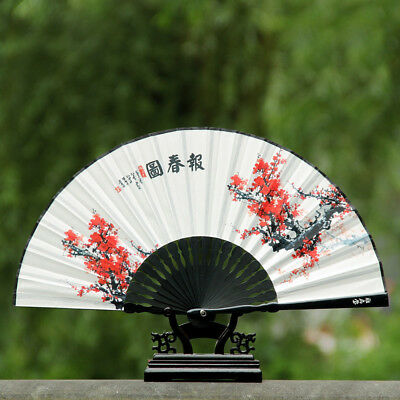 Chinese Style Woman Plum Bamboo Folding Fans Classical Craft Gift Fan No Base