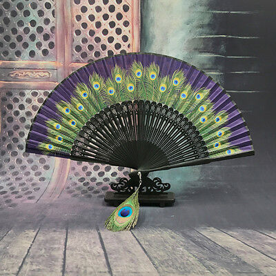 Chinese Style Woman Antiquity Peacock Folding Fans Bamboo Craft Gift Fan No Base