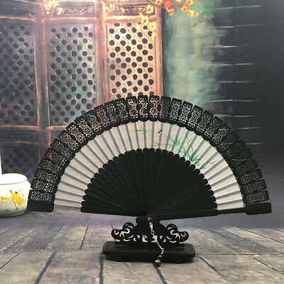 Antiquity Woman Hand Paint Hollow Fold Fans Chinese Style Craft Gift Fan No Base