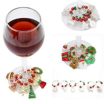 6Pcs Christmas Wine Glass Decor Charms Party Cup Silicone Ring Table Pendants JJ