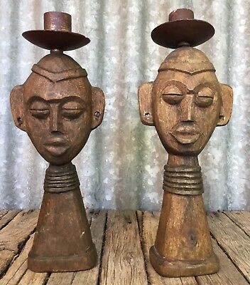 PAIR OF Hand Carved TRIBAL AFRICAN Figural CANDLE HOLDERS Wooden VINTAGE STATUES