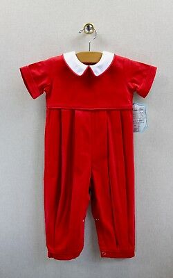 NEW Remember Nguyen Corduroy Romper 18 months Boys Red Christmas Long