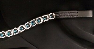Bling Sparkly 5 Row Curve Browband Turquoise Aqua Blue Pearl Crystal Black Full
