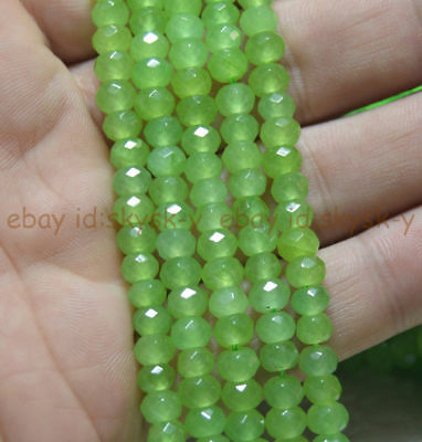 """Green 4x6mm Faceted Peridot Roundel Loose Beads Gemstone Strand 15"""""""