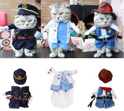 Funny Fashion Pet Dog Cat Costume Cosplay Doctor & Policeman & Cowboy