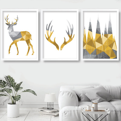 Set of 3 GEOMETRIC Black FRAMED Stag Deer YELLOW Wall Art Picture Print Poster