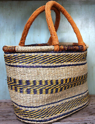 Large Tribal Woven Market Basket Leather Handle Artisan Made Natural Tote