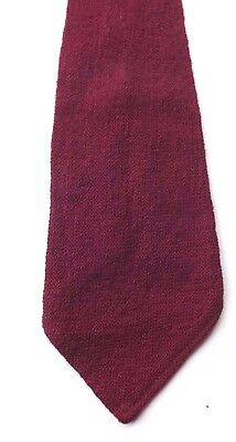 Vintage 1930s 1940s Hand Woven Wool Neck Tie Claret Mid Weight Weave FREE P&P