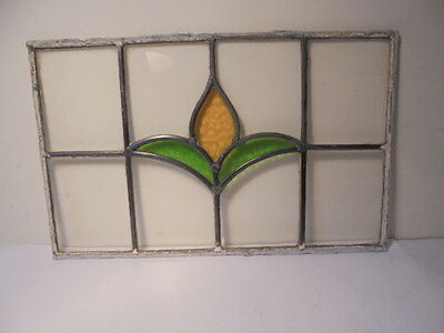 Vintage Leaded Stained Glass Yellow & Green Flower Window Home Art Wall Decor