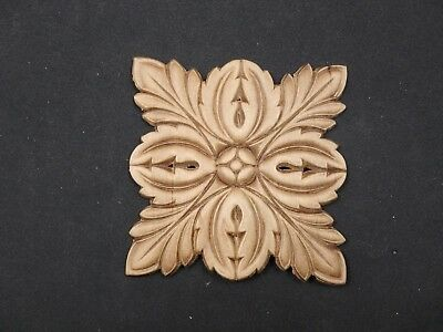 "1 Wood MEDALLION Decoration  3 3/4"" Long, 3 3/4"" Wide"