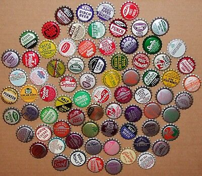 Vintage soda pop bottle caps Lot of 100 ALL UNUSED ORIGINALS over 75 different