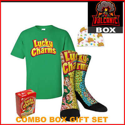 Lucky Charms Cereal Gift Box Set Includes Socks Hat T Shirt Cereal S M L XL XXL