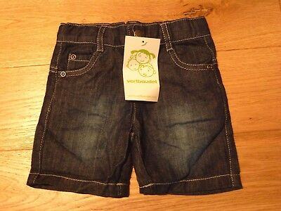 Vertbaudet Baby 100% Cotton Popper Fly Jeans Pant 6-9 Months BNWT Dark Blue Wash