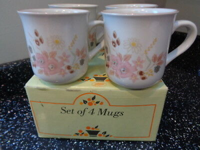 Boots Hedge Rose Mugs X 4  Unused Boxed