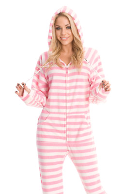 Unisex Soft Pink Stripes Fleece Footed Pajamas - Adult Sized Footie Hooded PJ