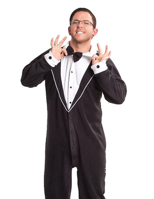 Unisex Black Tuxedo Fleece Footed Pajamas - Adult Sized White Footie Costume PJ