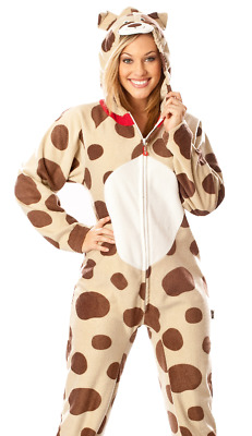 Unisex Dog Costume Footed Pajamas - Adult Sized Hooded Fleece Puppy Footie