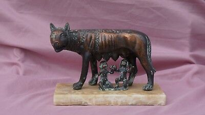 Antique Grand Tour bronze marble statue Roman she wolf lupa twins Romulus Remus