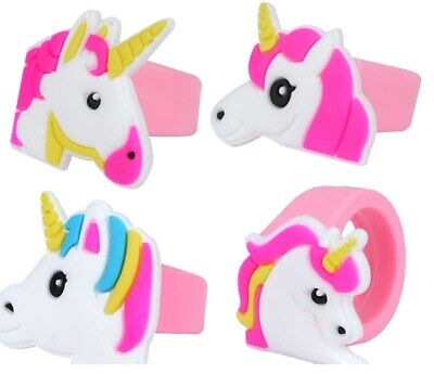 12 UNICORN RINGS rainbow toy Party Bags Filler gift kids reward jewellery