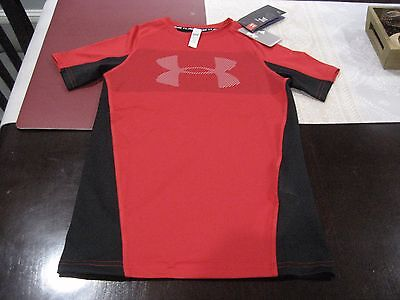 Boys Youths Under Armour Heatgear Fitted Short Sleeve T Shirt Ymd Medium Nwt
