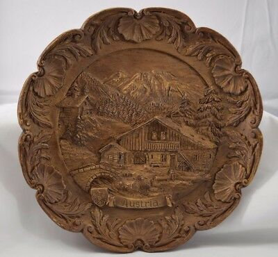 "Vintage German Hand Carved Wooden ""Austria"" Wall Plate Geiger Very Nice"