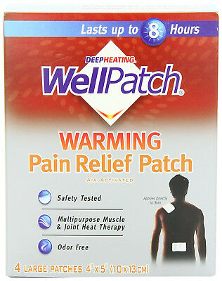 "WellPatch Warming Pain Relief Heat Patch, 4 large patches, 5""x4"" (13x10 cm) each"