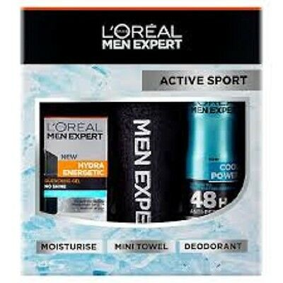 L'oreal Men Expert Active Sport 3pce Gift Set inc hydra energetic quenching gel