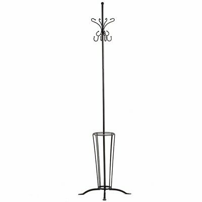 High St Coat Stand Hat Clothes Umbrella Bag Hanger Rack Iron Metal Black