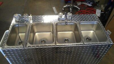 Large Portable Self Contained 4 Compartment Sink ,  Food Truck Hot Water