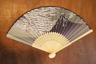Mt. Fuji Japanese folding fan, paper and bamboo