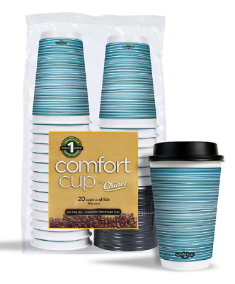Stylish Paper Coffee Cups 16 oz Disposable Hot Cup and Lids Home Office 20 Pack