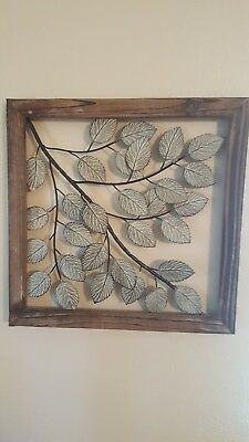 White and Blue Leaves Framed Metal Wall Decor