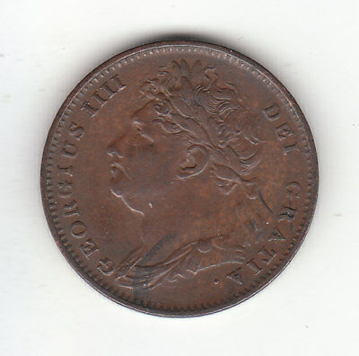1826 Great Britain George IV Farthing Coin. First Head. High Grade.